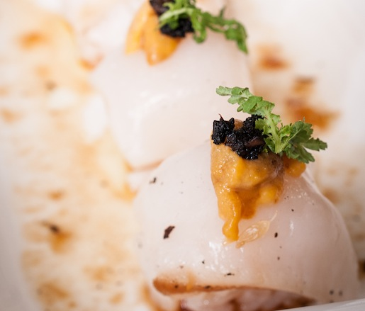 Scallop Ceviche Sushi with Smoked Uni and Lime and Soy–Grilled Citrus