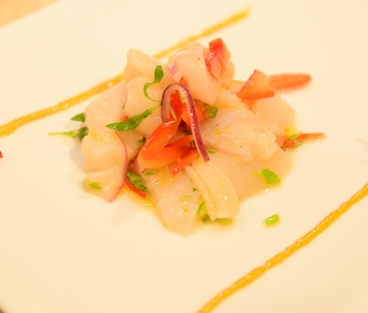Bombster Scallop Crudo with Extra Virgin Olive Oil, Kabuso, and Ají Amarillo