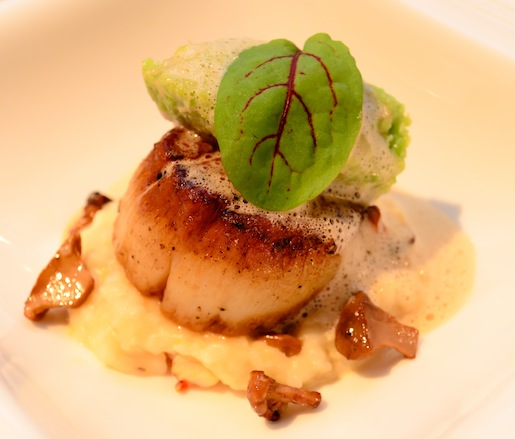 Diver Scallops with Creamy Chanterelles, Lobster Grits, and Favetta