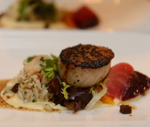 Caraway-Crusted Sea Scallop with Smoked Rushing Waters Trout Salad and Caraway Vinaigrette