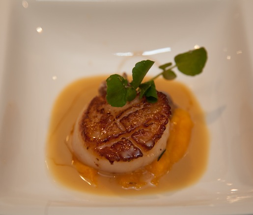 Sea Scallops with Pumpkin Purée, Shiitake Mushrooms, Watercress, Chardonnay Sauce, and Amaretto Reduction