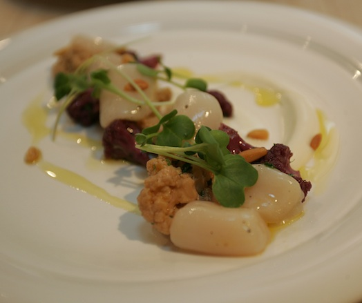 Peconic Bay Scallops with Pickled Cauliflower, Golden Raisins, and Pine Nuts