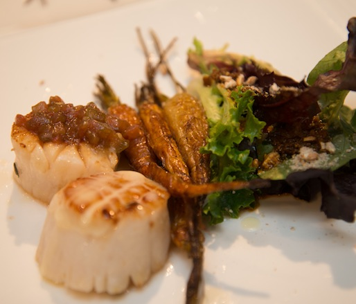 Grilled East End Sea Scallops with Roasted Heirloom Carrots, Housemade Chorizo, Spring Baby Lettuces, and Fried Farro