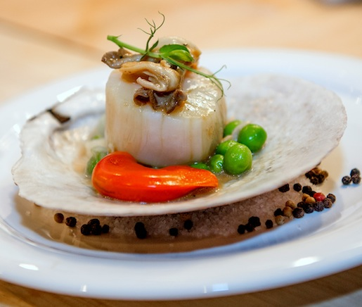 Sea Scallop in its Shell with Roe, Onion Soubise, English Peas, and Pickled Mushrooms