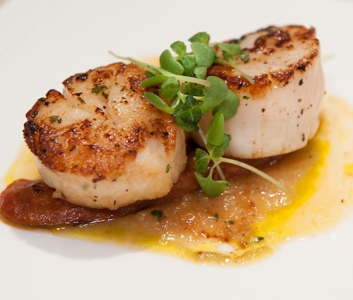 Barnegat Light Dayboat Scallops with Oaxacan-Spiced Chayote Purée, Chorizo, and Blood Orange Reduction