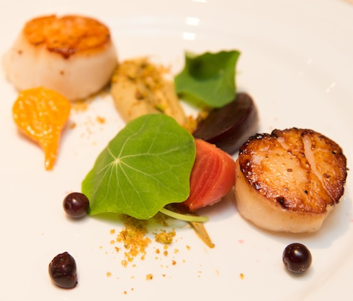 Seared Scallops with Marinated Local Beets, Pistachios, and Nasturtium