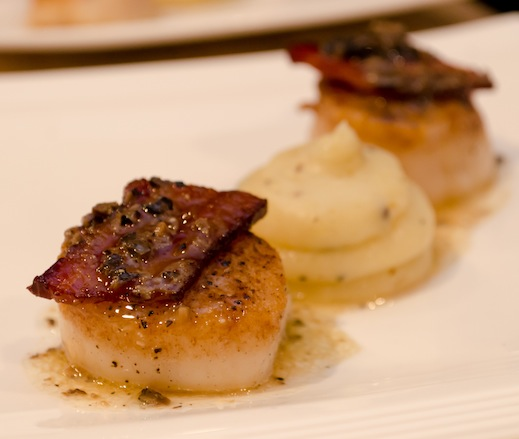 Pan-Seared Scallops with White Truffle–Whipped Potatoes, Bacon, and Champagne Vinaigrette