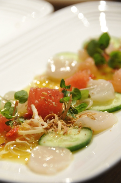 Lime-Marinated Scallops with Pomelo, Lemongrass, Mint, and Toasted Coconut