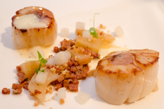 Chouriço-Filled Georges Bank Scallops with  Roasted Pears, Hazelnuts, and Brown Butter