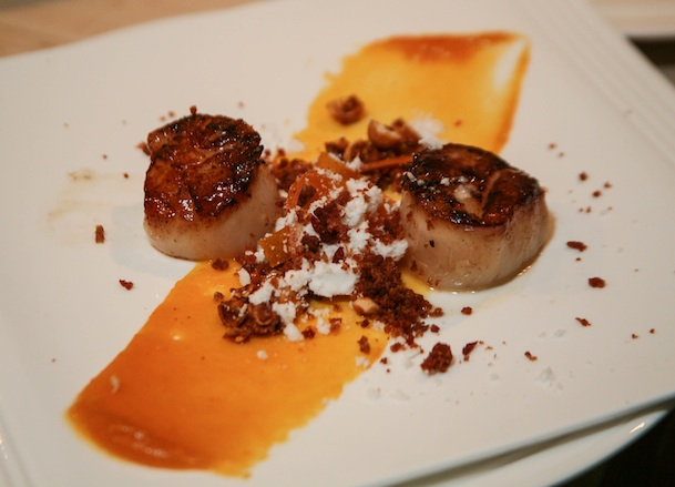 Italy > Glazed Scallops with Prosciutto, Thyme, Hazelnuts, and Dried Apricots