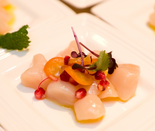 Nantucket Bay Scallops with Kumquats, Pomegranate, and Ginger Vinaigrette