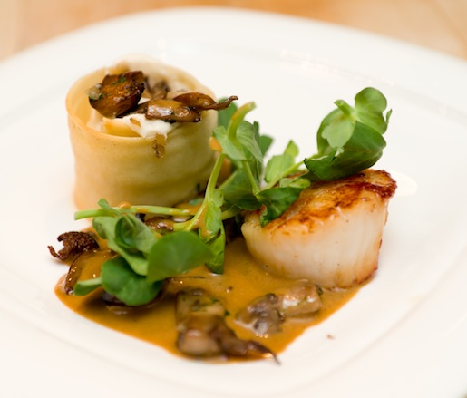 Seared Stonington Scallops with Pumpkin Mousseline–Stuffed Miniature Pumpkin, Sautéed Wild Mushrooms, Pea Greens, and Cèpe Sauce