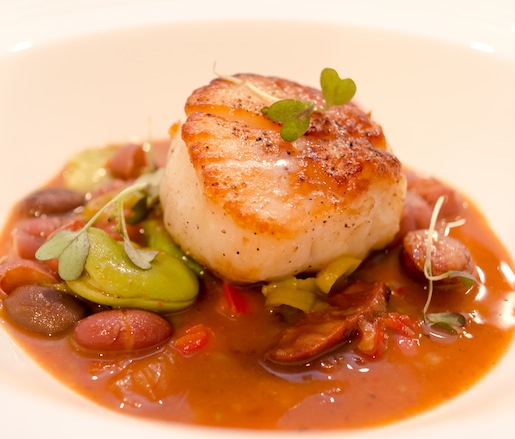 Jumbo Scallops with Sopa de Alubias de Tolosas, Fava Beans, and Basque Peppers