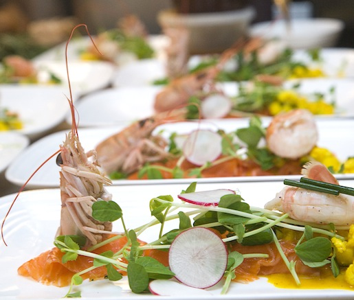 House-Cured Salmon with Chopped Scottish Langoustine Salad, Piccalilli, and Cracked Wheat Brioche