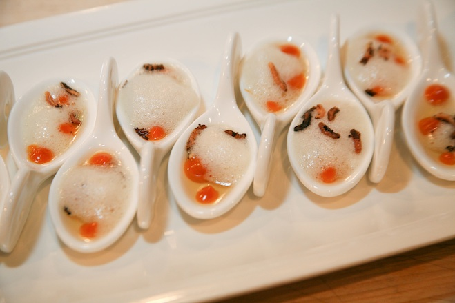 Spain > Seafood Dumplings with Mussels, Sepia, Clams, Tomatoes, and Saffron