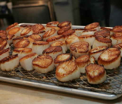 Seared diver scallops in the Beard House kitchen
