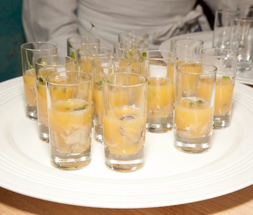 Rappahannock Oyster Shooters with Sparkling Hard Cider and Watercress