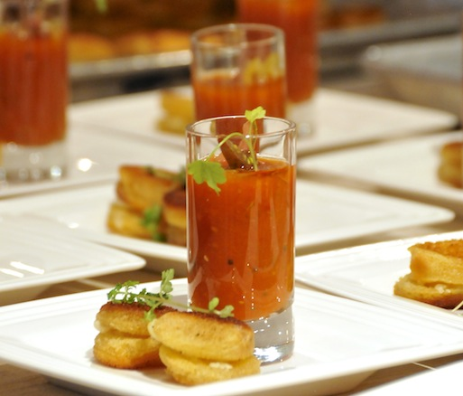 Smoked Gazpacho Shooters with Grilled Cheese Bites