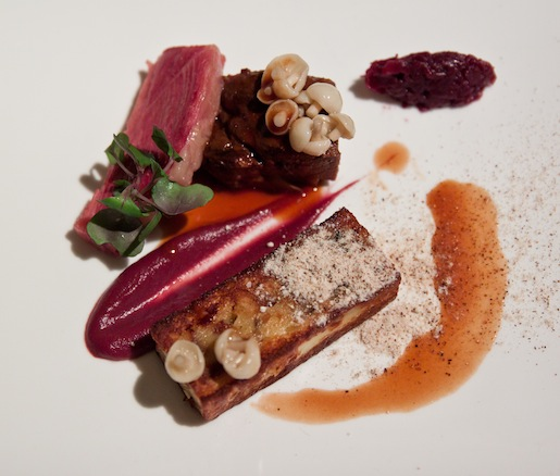 Manzo > Smoked Short Ribs with Bone Marrow–Mushroom Budino, Parsnips, and Cabbage
