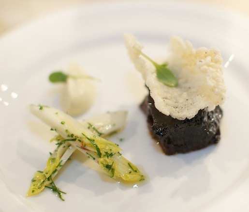 Slow-Cooked Beef Short Ribs with Endive, Celeriac, Cherries, and Black Pepper