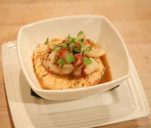 Bostonian Shrimp 'n Grits with Pipérade, Linguiça Sausage, and Four Star Farms Polenta