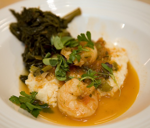 Shrimp and Stone-Ground Tennessee Cheese Grits with Braised Southern Greens and Sorghum Drizzle