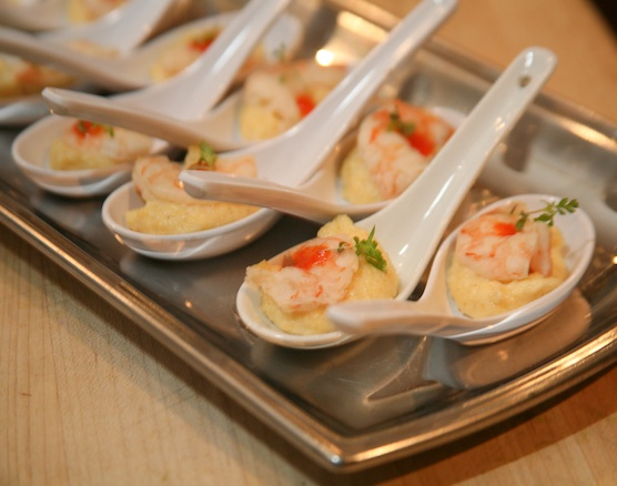 Pickled Shrimp with Toasted Polenta and Pimiento Purée
