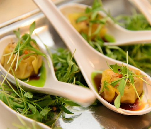 Rowland Farm Pork Belly Siu Mai with Black Vinegar, Chile Oil, and Micro-Cilantro