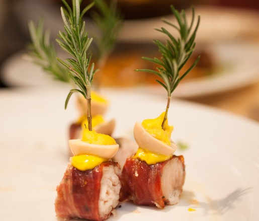 Ibérico Serrano Ham–Wrapped Swordfish Skewers with Saffron Aïoli and Pickled Quail Eggs