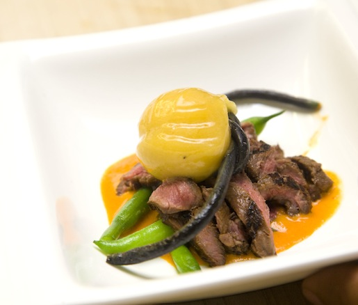 Buffalo Skirt Steak with Bourbon County Yellow Wax Beans, Roasted Red Pepper Coulis, and Pawpaw Sorbet