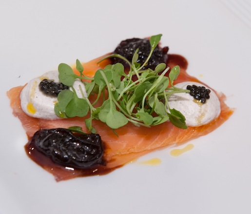 Smoked Salmon Carpaccio with Candied Red Onions, Osetra Caviar, and Mustard Crème Fraîche
