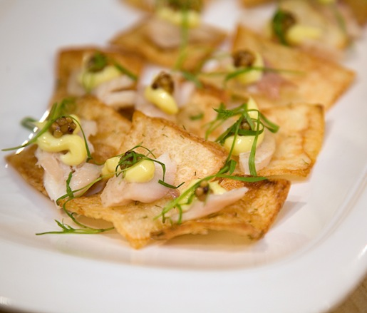 Hickory-Smoked Trout with Lemon Aïoli, Mustard Seed Caviar, and Micro-Dill on Potato Planks