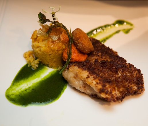 Chorizo-Crusted Pensacola Red Snapper with Saffron Rice Pudding, Mojo de Cilantro, and Fried Silver Mullet Roe (Andalucía)