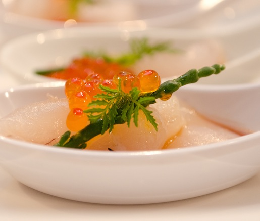 Pink Snapper Crudo with Ponzu, Sea Beans, and Smoked Maldon Sea Salt