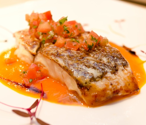 Pan-Seared Snapper with Virgin Sauce and Red Pepper Coulis