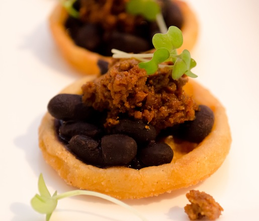 Black Bean–Chorizo Sopes with Cascabel Chile Sauce