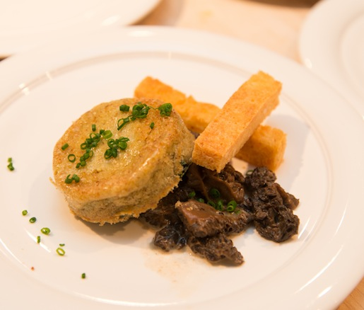 Farm Egg Soufflé with Creamed Morels, Brioche, and Red Sorrel