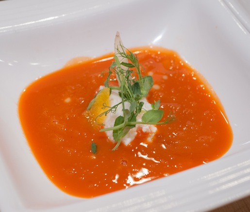 Seasonal Carrot–Rooibos Soup with Pea Tendrils, Burrata, and White Chocolate