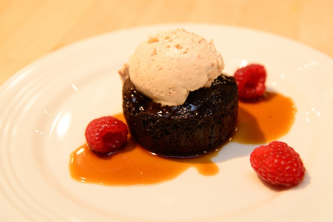 Dark Chocolate Spoonbread with Dogfish Head Fort Caramel and Raspberries