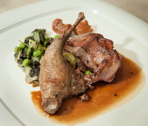 Roasted California Squab Breast and Leg Confit with Summer Vegetables and Pan Jus