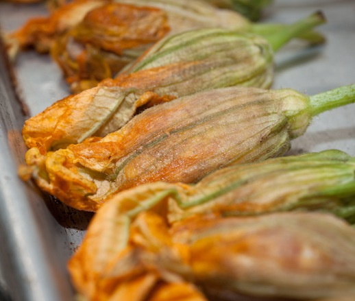 Preparing squash blossoms in the James Beard House kitchen