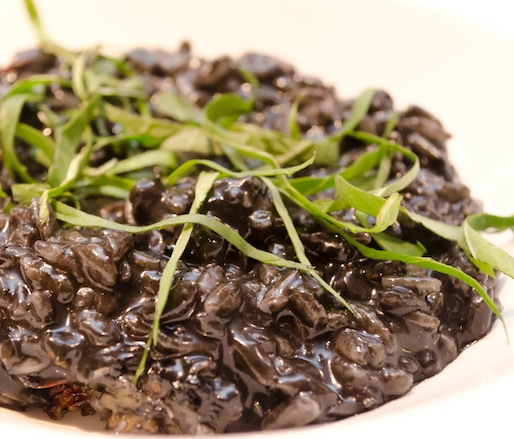 Squid Ink Risotto with Tuna Conserva and Pickled Chilies