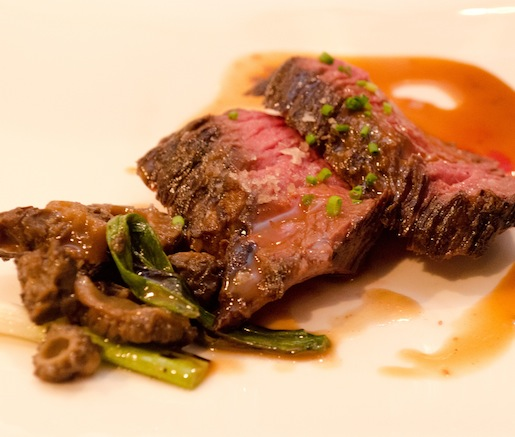 Wagyu Flap Steak with Morels, Spring Onions, and Smoked Marrow–Red Wine Sauce