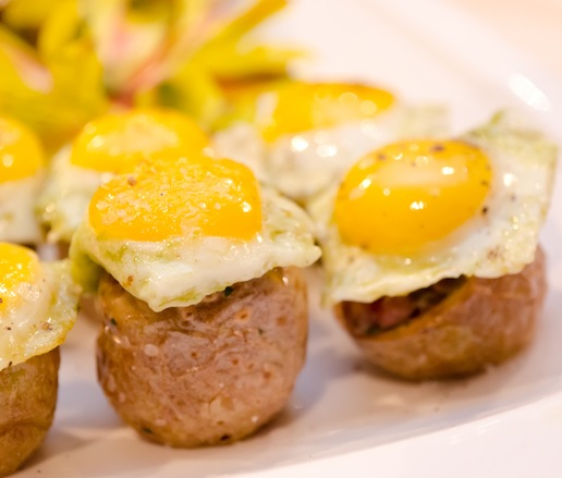 Certified Angus Beef® Steak Tartare with Sunny-Side-Up Quail Eggs in Crispy New Potatoes