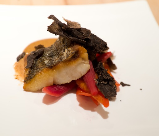 Crispy Striped Bass with Doe Run Farm Butter–Black Winter Truffle Sauce, Victory Brewing Company Helios Ale–Pickled Carrots, and Radishes