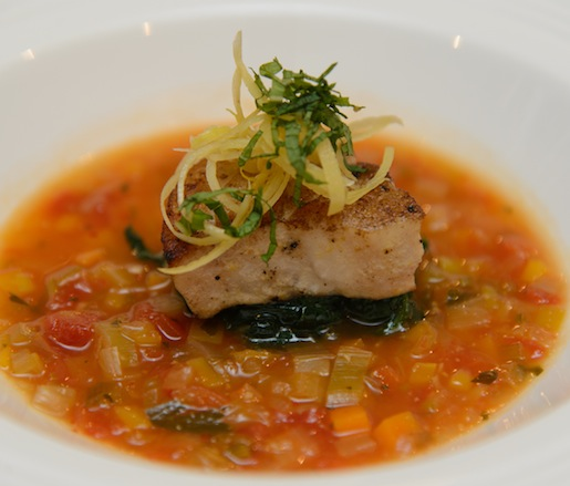 Seared Wild Striped Bass Plaki with Sweet-and-Sour Vegetable Soup, Mint, and Candied Lemon
