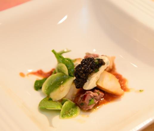 Aspen Wood–Smoked Sturgeon with Bison–Meyer Lemon Vinaigrette, Organic Caviar, Roasted Shallot Crème Fraîche, and Strawberries