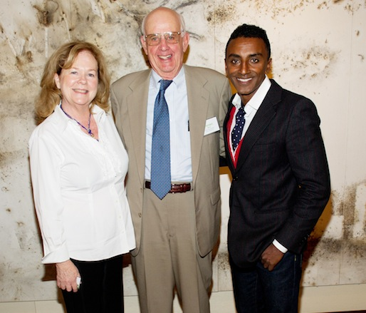 JBF president Susan Ungaro, JBF Leadership Award winner Wendell Berry, and JBF Award winner Marcus Samuelsson