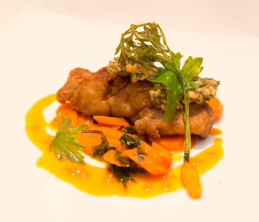 Artemesia with Crispy Sweetbreads, Carrot–Orange Reduction, and Mustard Seeds