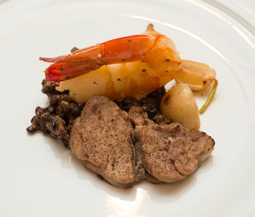 Sautéed Porcini-Crusted Veal Sweetbreads and Garlic-Roasted Shrimp with Wild Mushrooms, Lentils, Turnips, and Roasted Pearl Onions